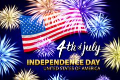 Celebrating the 4th of July, Independence Day fireworks vector. Art vector illustration
