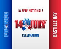 Celebrating 14th of July, National day of France, Bastille day. Holiday design, background with 3d texts, national flag colors and Eiffel tower shape for vector illustration