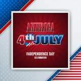 Celebrating 4th of July, U.S. Independence day. Holiday design, background with 3d texts and national flag colors for fourth of July, America Independence day stock illustration