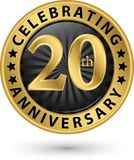 Celebrating 20th years anniversary gold label, vector Stock Image