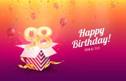 Celebrating 98th years birthday vector illustration. Ninety-eight anniversary celebration background. Adult birth day