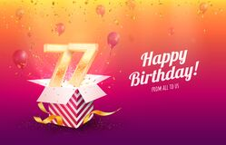 Celebrating 77th years birthday vector illustration. Seventy-seven anniversary celebration background. Adult birth day