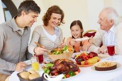 Celebrating Thanksgiving day Stock Images