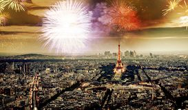 Free Celebrating The New Year In Paris Eiffel Tower With Fireworks Royalty Free Stock Photos - 160730448