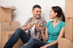 Celebrating their moving to a new apartment. Stock Photography