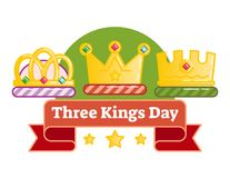Celebrating Three kings day or Epiphany, illustrated vector logo badge. With three crowns and red ribbon Stock Image