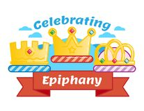 Celebrating Three kings day or Epiphany, illustrated vector logo badge. With three crowns and red ribbon Royalty Free Stock Images