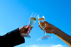 Celebrating with a toast Royalty Free Stock Photography