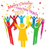 Celebrating Together. A circle of colourful people with their hands held up high are celebrating together the Christmas and New Year Royalty Free Stock Photos