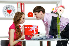 Celebrating Valentine's Day In Office Royalty Free Stock Photos