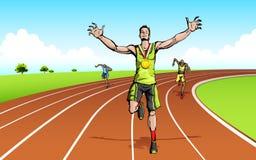 Celebrating Victory. Illustration of winner celebrating victory on racing track Stock Photos