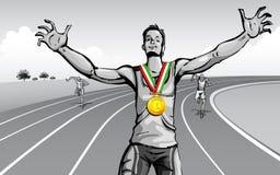 Celebrating Victory. Illustration of winner celebrating victory on racing track Stock Photo