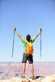 Celebrating winning hiker cheering happy royalty free stock photos