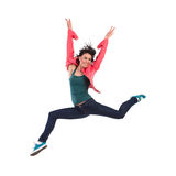 Celebrating woman jumping Royalty Free Stock Photos