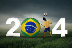 Celebrating world cup 2014 Royalty Free Stock Photo