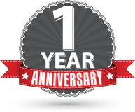 Celebrating 1 year anniversary retro label with red ribbon, vect. Or illustration Stock Image