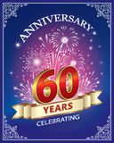 Celebrating 60 years anniversary. Anniversary card 60 years with firework on a blue background vector illustration