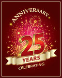 Celebrating 25 years anniversary. Anniversary card 25 years old with fireworks on claret background Stock Photo