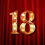 Celebrating of 18 years anniversary. Logotype golden colored isolated on the background of a red curtain. Vector illustration Royalty Free Stock Photography