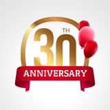 Celebrating 30 years anniversary golden label with ribbon and balloons, vector template Royalty Free Stock Photos