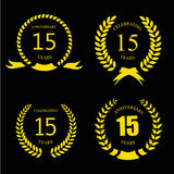 Celebrating 15 Years Anniversary - Golden Laurel. Celebrating 15 fifteen Years Anniversary - Golden Laurel Wreath - Vector vector illustration
