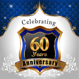 Celebrating 60 years anniversary, Golden shield. With blue royal emblem background - vector eps10 Royalty Free Stock Photo