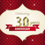 Celebrating 30 years anniversary. golden style. Vector.  Royalty Free Stock Photos