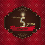 Celebrating 5 years anniversary. golden style. Vector Stock Image