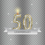 Celebrating 50 years anniversary. golden style. Vector.  Royalty Free Stock Photo
