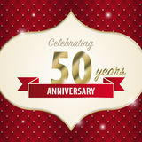 Celebrating 50 years anniversary. golden style. Vector Royalty Free Stock Image