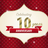Celebrating 10 years anniversary. golden style. Vector Royalty Free Stock Images