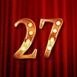 Celebrating of 27 years anniversary. Logotype golden colored isolated on the background of a red curtain. Vector illustration Stock Photos