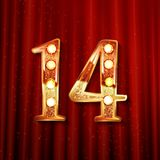 Celebrating of 14 years anniversary. Logotype golden colored isolated on the background of a red curtain. Vector illustration royalty free illustration