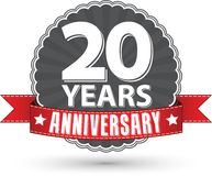 Celebrating 20 years anniversary retro label with red ribbon, ve. Ctor illustration Stock Photography