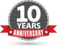 Celebrating 10 years anniversary retro label with red ribbon, ve. Ctor illustration Royalty Free Stock Photography