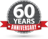 Celebrating 60 years anniversary retro label with red ribbon, ve. Ctor illustration Royalty Free Stock Photography