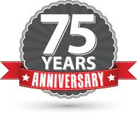 Celebrating 75 years anniversary retro label with red ribbon, ve. Ctor illustration Stock Images