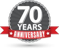 Celebrating 70 years anniversary retro label with red ribbon, ve. Ctor illustration Stock Photo