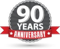 Celebrating 90 years anniversary retro label with red ribbon, ve. Ctor illustration Stock Photo