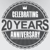 Celebrating 20 years anniversary retro label, vector illustratio. N Royalty Free Stock Photography