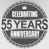 Celebrating 55 years anniversary retro label, vector illustratio. N Stock Photography