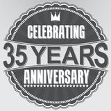 Celebrating 35 years anniversary retro label, vector illustratio. N Royalty Free Stock Photo