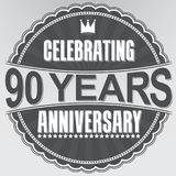 Celebrating 90 years anniversary retro label, vector illustratio. N Stock Photos