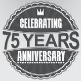 Celebrating 75 years anniversary retro label, vector illustratio. N Royalty Free Stock Photography