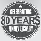 Celebrating 80 years anniversary retro label, vector illustratio. N Royalty Free Stock Image