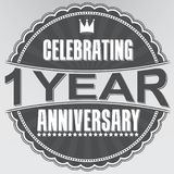 Celebrating 1 years anniversary retro label, vector illustration. Celebrating 1 years anniversary retro label, vector Royalty Free Stock Photography