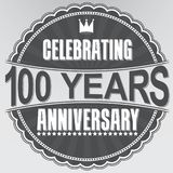 Celebrating 100 years anniversary retro label, vector illustrati. On Stock Photo