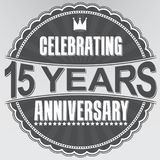 Celebrating 15 years anniversary retro label, vector illustratio. N Stock Photos