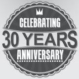 Celebrating 30 years anniversary retro label, vector illustratio. N Stock Image