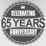 Celebrating 65 years anniversary retro label, vector illustratio. N stock illustration